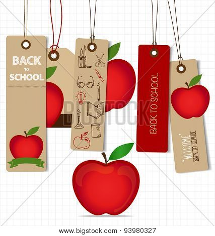 Welcome back to school. Sale Coupon, voucher and tag. Vector illustration.
