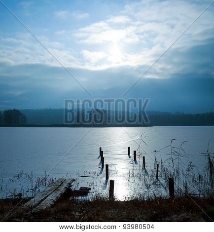 Winter Landscape with Frozen Lake