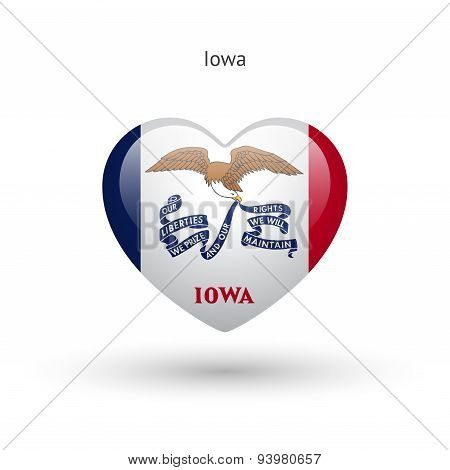 Love Iowa state symbol. Heart flag icon.