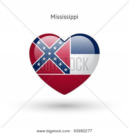Love Mississippi state symbol. Heart flag icon.