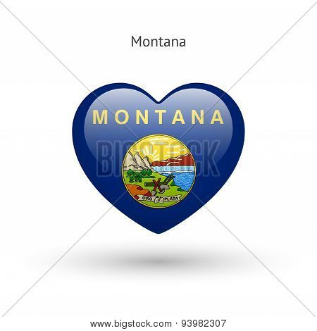 Love Montana state symbol. Heart flag icon.