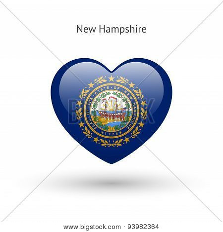 Love New Hampshire state symbol. Heart flag icon.