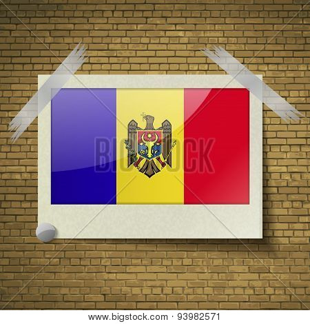 Flags Moldovaat Frame On A Brick Background. Vector
