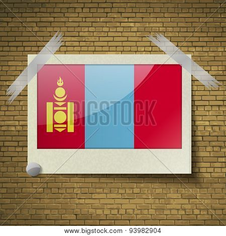 Flags Mongoliaat Frame On A Brick Background. Vector