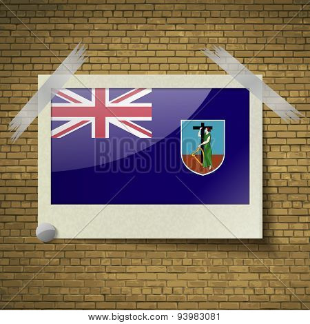Flags Montserratat Frame On A Brick Background. Vector