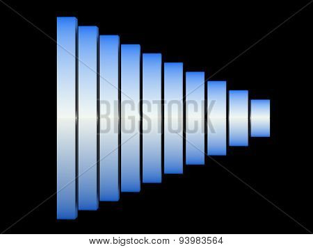 chart success of the blue-white cubes on a black background. 3d