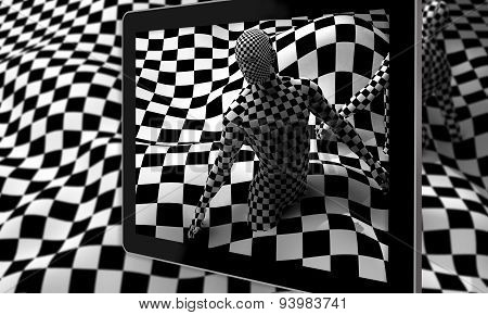 Black End White Checkered Man