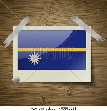 Flags Nauru At Frame On Wooden Texture. Vector