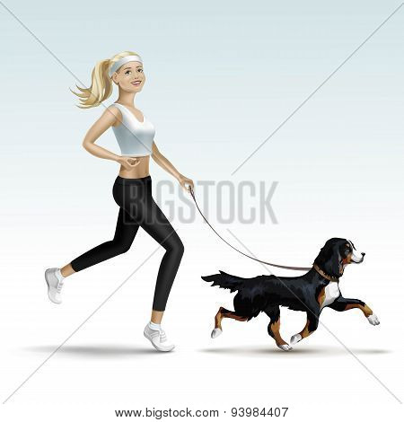 Blonde Woman Girl Female Jogging with Dog