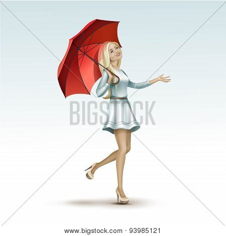 Blonde Woman Girl Under the Red Umbrella in Dress