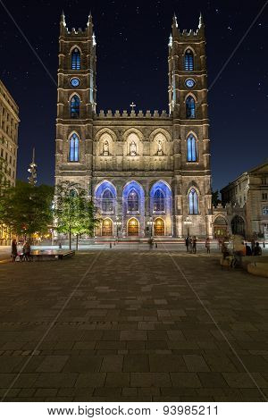 Notre-dame Basilica In Montreal At Night