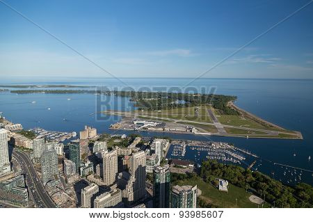 Toronto Island Airport And Lake Ontario