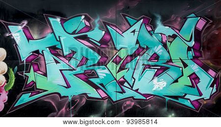 MOSCOW - JUNE 21, 2015: Graffiti on a urban wall (near B. Novodmitrovskaya street).