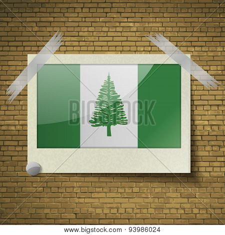 Flags Norfolk Islandat Frame On A Brick Background. Vector