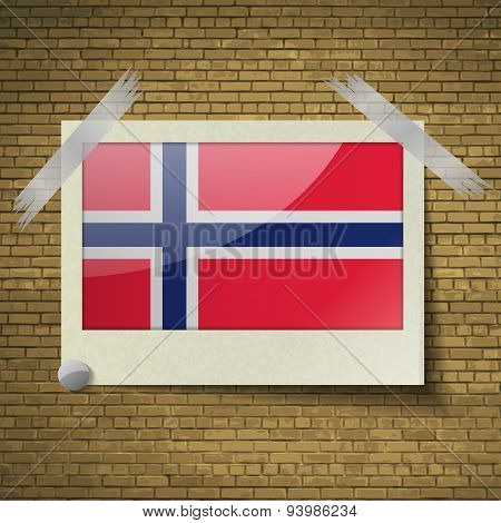Flags Norwayat Frame On A Brick Background. Vector