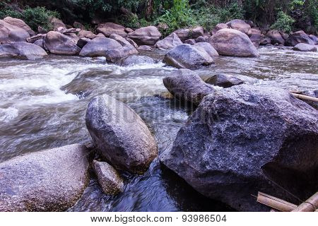 Rocks And Nature On The River, Maetaeng Chiangmai Thailand