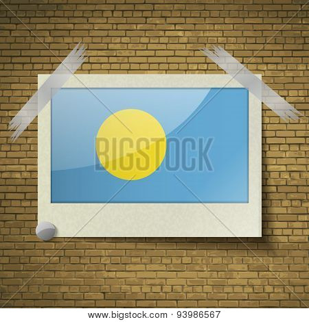 Flags Palauat Frame On A Brick Background. Vector