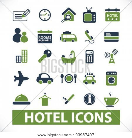 hotel, motel isolated icons, illustrations, vector
