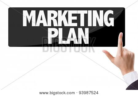 Businessman pressing button with the text: Marketing Plan