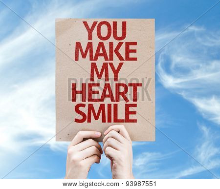You Make My Heart Smile card with sky background