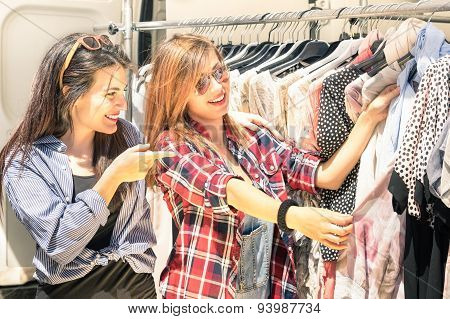 Young Beautiful Women At The Weekly Cloth Market - Best Friends Sharing Free Time Having Fun