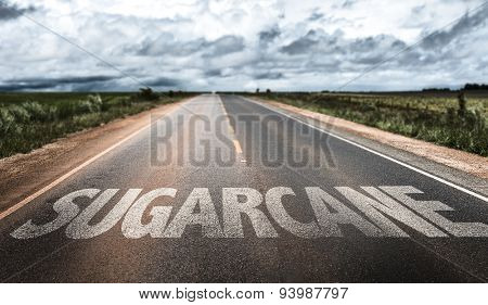 Sugarcane written on rural road
