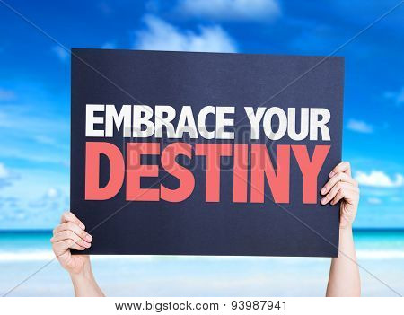 Embrace Your Destiny card with beach background