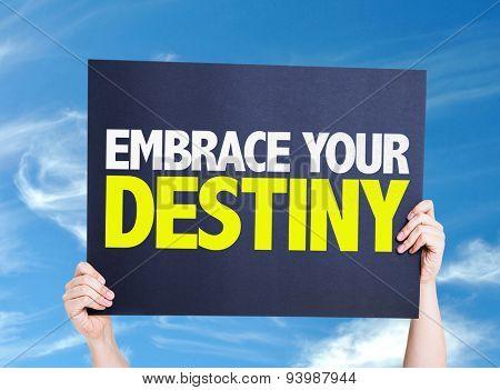 Embrace Your Destiny card with sky background