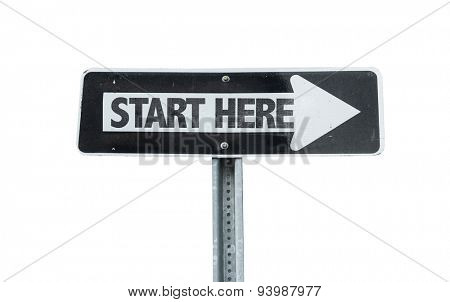 Start Here direction sign isolated on white