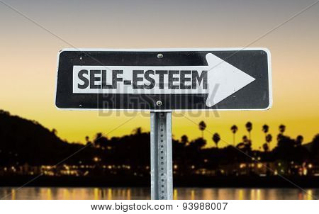 Self-Esteem direction sign with sunset background