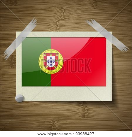 Flags Portugal At Frame On Wooden Texture. Vector