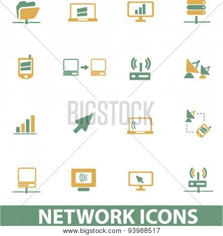 network, server, administration isolated icons, illustrations, vector