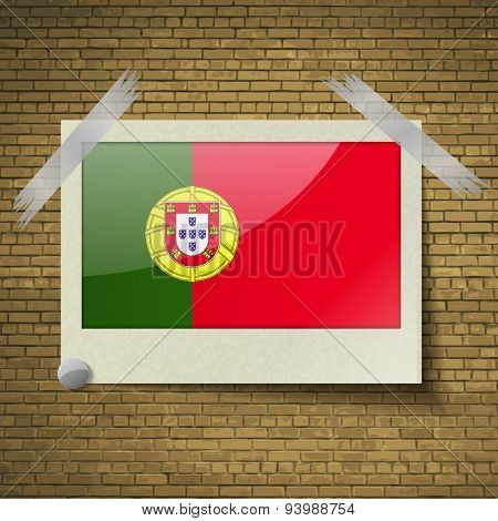 Flags Portugalat Frame On A Brick Background. Vector