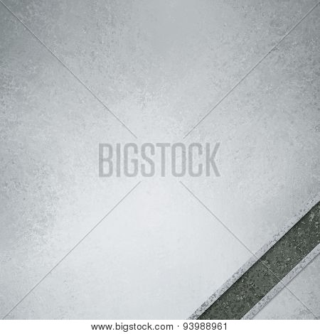 white and gray background with dark gray diagonal ribbon in corner