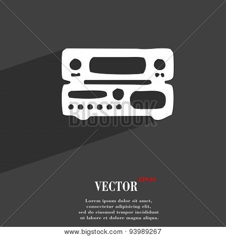 Radio, Receiver, Amplifier Icon Symbol Flat Modern Web Design With Long Shadow And Space For Your Te