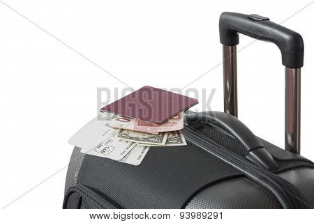 Detail Of Trolley Suitcase With Passport
