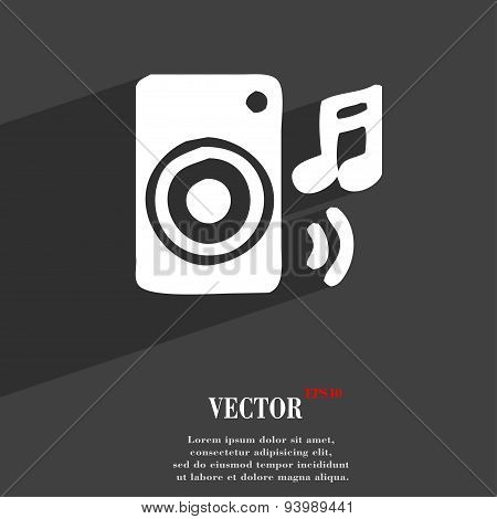 Music Column, Disco, Music, Melody, Speaker Icon Symbol Flat Modern Web Design With Long Shadow And