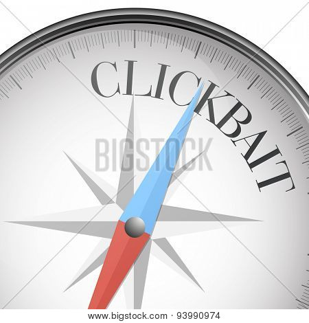 detailed illustration of a compass with clickbait text, eps10 vector