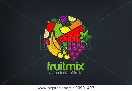 Fruit mix Logo design vector template circle shape.Vegetarian food Logotype concept. Shop, Market c