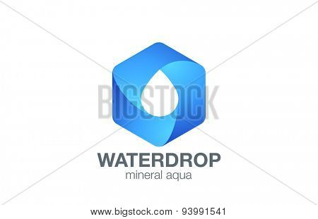 Clear Water drop Logo aqua hexagon infinity loop vector template design.Waterdrop drink Logotype. D