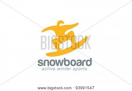 Snowboard logo design vector template. Winter Active sport icon.Skateboarding jumping logotype. Man