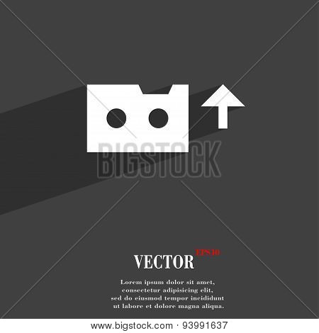 Audio Cassette Icon Symbol Flat Modern Web Design With Long Shadow And Space For Your Text. Vector