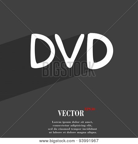 Dvd Icon Symbol Flat Modern Web Design With Long Shadow And Space For Your Text. Vector