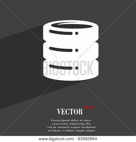 Hard Disk Icon Symbol Flat Modern Web Design With Long Shadow And Space For Your Text. Vector