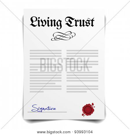 detailed illustration of a Living Trust Letter, eps10 vector