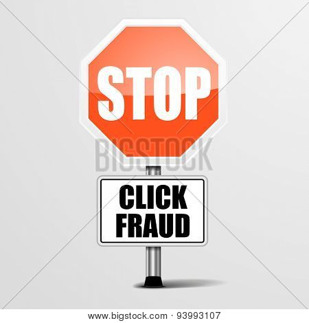 detailed illustration of a red stop click fraud sign, eps10 vector