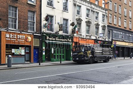 Truck loaded with barrels of beer Guinness at the bar in Dublin.