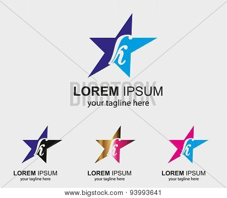 Abstract K letter logo design with star icon