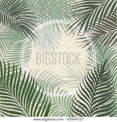 Hand drawn light green frame of palm leaves