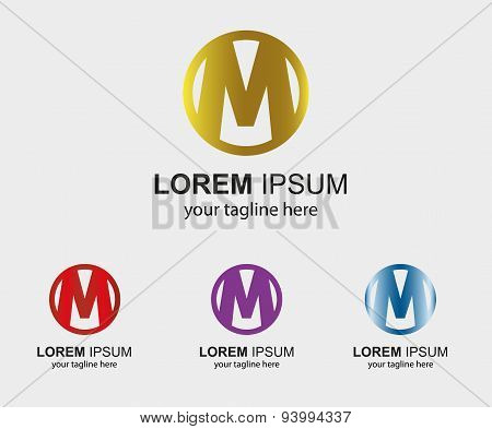 Abstract M logo design template letter M